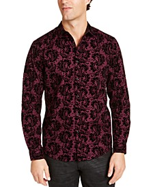 INC Men's Flocked Paisley Shirt, Created For Macy's