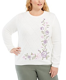 Plus Size Loire Valley Floral-Embroidered Chenille Sweater
