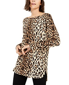 INC Petite Leopard-Print Shirttail-Hem Tunic Sweater, Created for Macy's