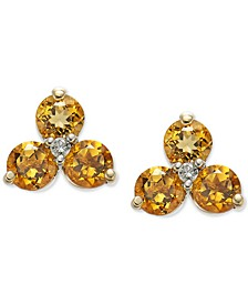 Citrine (1-3/4 ct. t.w.) & Diamond (1/20 ct. t.w.) Cluster Stud Earrings in 14k Gold (Also in Opal)