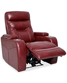 "Jherrad 33"" Fabric Dual Power Recliner with Light Strip and Leather look"