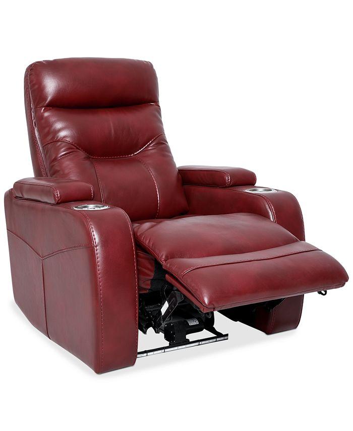 "Furniture - Jherrad 33.5"" Fabric Dual Power Recliner with Light Strip"