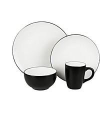 Bistro White/Black 16 Pc Dinnerware Set