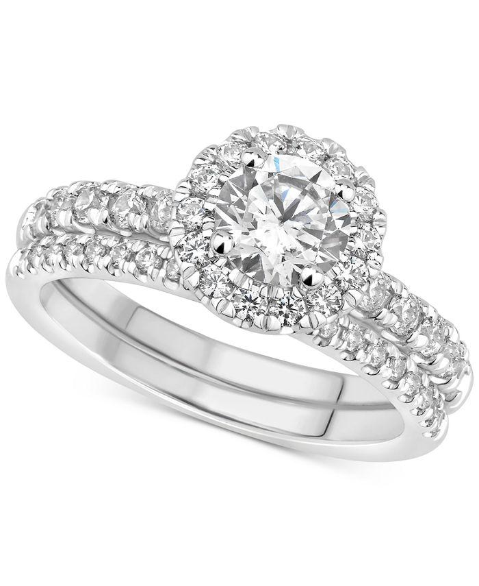 GIA Certified Diamonds - Certified Diamond Halo Bridal Set (1-1/2 ct. t.w.) in 14k White Gold