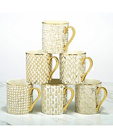 Mosaic 6-Pc. Gold Plated Mugs