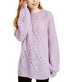 Juniors' Cable Knit Tunic Sweater