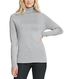 Rhinestone-Embellished Turtleneck Sweater
