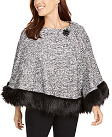 Petite Faux-Fur-Trim Poncho, Created For Macy's