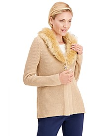 Faux-Fur-Collar Sweater, Created For Macy's