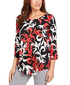 Petite Printed Shirttail-Hem Top, Created For Macy's