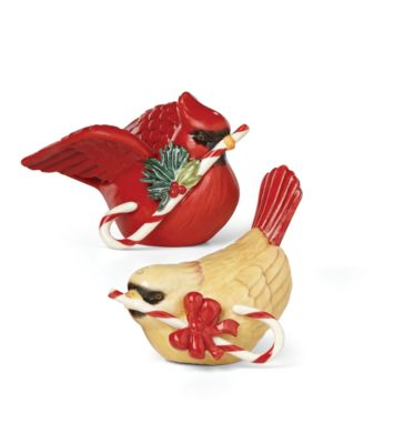 Winter Greetings Bird Figurine Salt and Pepper Set
