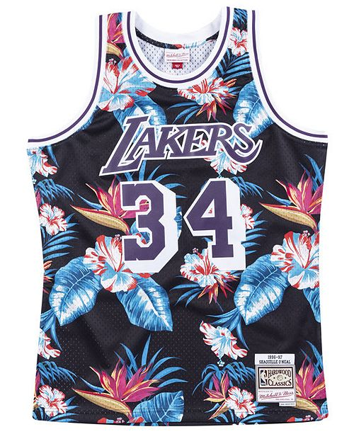 Mitchell & Ness Men's Shaq O'Neal Los Angeles Lakers Floral Swingman Jersey