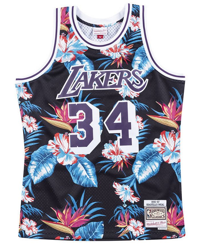 Mitchell & Ness Men's Shaq O'Neal Los Angeles Lakers Floral ...