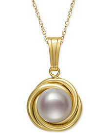 """18"""" Button Cultured Freshwater Pearl Love Knot Pendant Pearl Necklace in 14k Gold"""