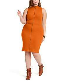 Trendy Plus Size Juniors' Sleeveless Zip-Front Sweater Dress