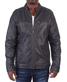 Men's Sleeve Patched Biker Jacket