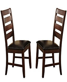 Wooden Dining Chair with Ladder Back Design, Set of 2