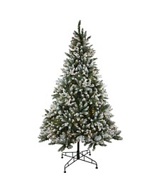 6.5' Pre-Lit Frosted Sierra Fir Artificial Christmas Tree - Clear Lights