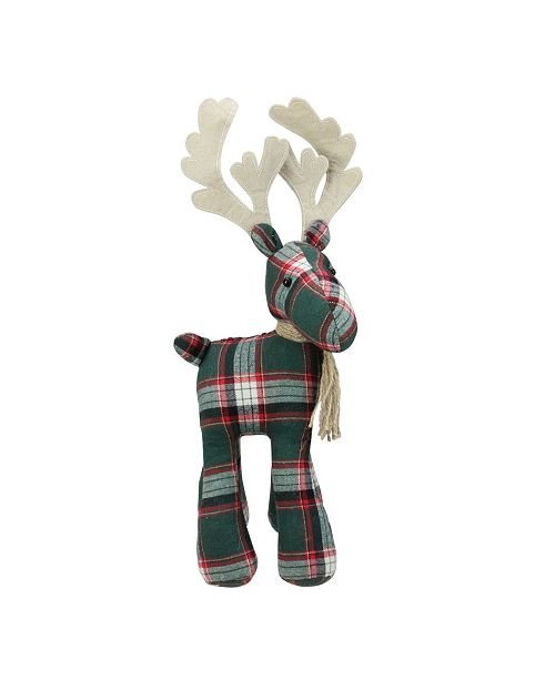 """Northlight 16.75"""" Green and Red Plaid Standing Reindeer Table Top Christmas Decoration"""
