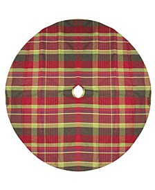 and Green Plaid Rustic Woodland Christmas Tree Skirt with Green Trim