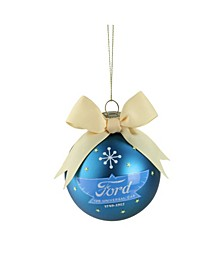"2.75"" Blue and Yellow ""Ford The Universal Car"" Logo Glass Ball Christmas Ornament"