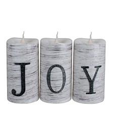 "Set of 3 Battery Operated JOY LED Christmas Candle Decorations 6"""