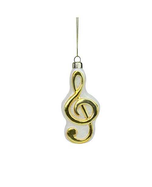 """Northlight 4"""" Metallic Gold and Glittered White Treble Clef Note Music Symbol Glass Christmas Ornament"""