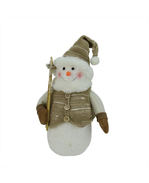 """Northlight 10"""" Alpine Chic Brown and Beige Snowman with Ski Poles and Mistletoe Christmas Decoration"""