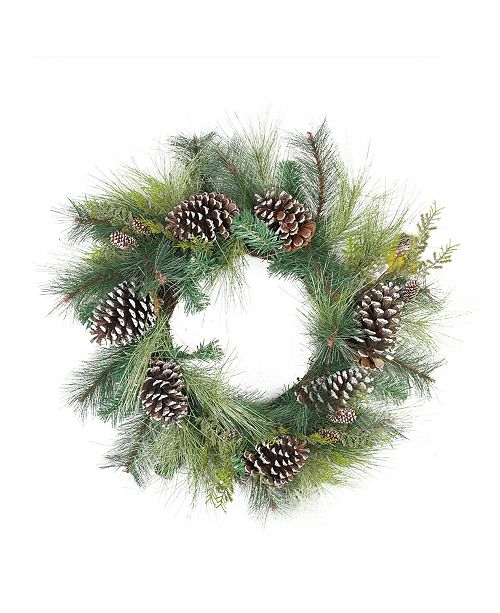 """Northlight 28"""" Mixed Long Needle Pine and Pine Cone Artificial Christmas Wreath - Unlit"""