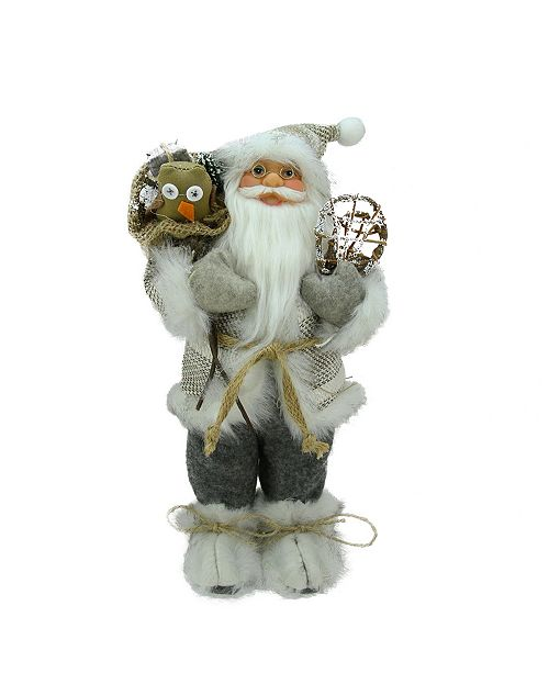Northlight 1 Alpine Chic Beige and Gray Standing Santa with Snowshoes and Gift Bag