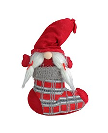 """14.5"""" Red and Gray """"Isolde"""" Gnome in Christmas Stocking Tabletop Decoration"""