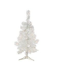 2' Pre-Lit White Artificial Tinsel Christmas Tree- Clear Lights
