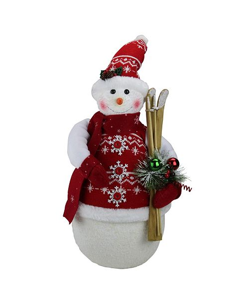 "Northlight 20"" Alpine Chic Sparkling Snowman with Nordic Style Santa Hat and Skiis Christmas Decoration"