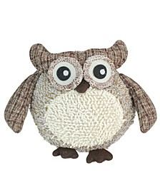 "12"" Charming Brown Plaid Owl w/ Textured Ivory Plush Table Top Christmas Figure"