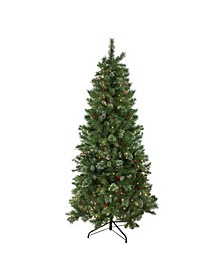 7.5' Pre-Lit Multi-Color Glittered Mixed Pine Medium Artificial Christmas Tree - Clear Lights