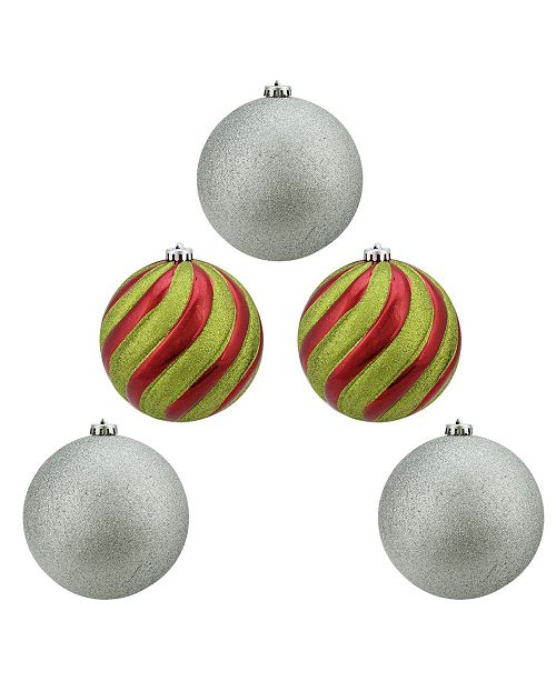 "Northlight 5ct Shiny Red Green and Silver Glitter Shatterproof Ball Christmas Ornaments 6"" 150mm"