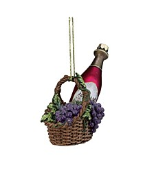 "4.5"" Purple Wine Bottle in Grape Basket Christmas Glass Ornament"