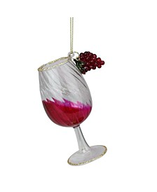 "4.25"" Gold Glittered Red Wine Glass Christmas Ornament"