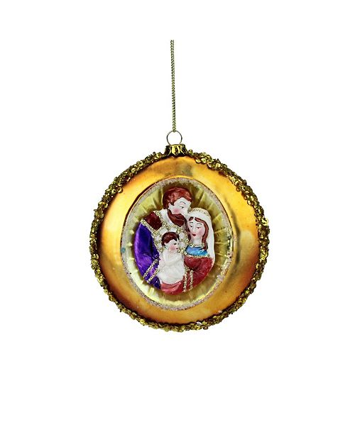 """Northlight 4"""" Holy Family Sequin Religious Glass Disc Christmas Ornament"""