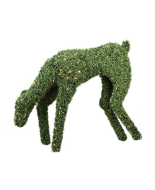 "Northlight 42"" Pre-Lit Boxwood Feeding Reindeer Outdoor Christmas Decoration - Warm White LED Lights"