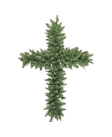 "22"" Green Pine Artificial Cross Shape Wreath with Ground Stake - Unlit"