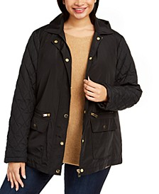 Plus Size Quilted Hooded Jacket, Created for Macy's