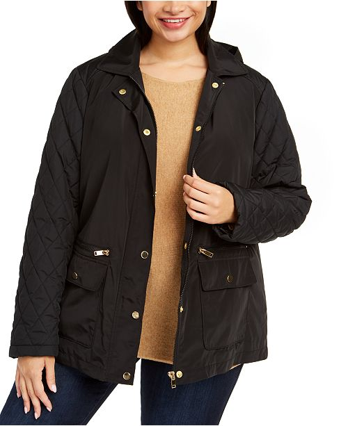Charter Club Plus Size Quilted Hooded Jacket, Created For Macy's