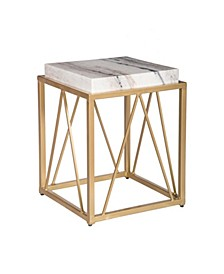 Marble Square Top Accent Table, Quick Ship
