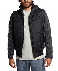 Nylon Vest with Fleece Sleeves and Hood