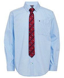 Big Boys 2-Pc. Neal Poplin Shirt & Logo Stripe Tie Set