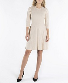3/4 Sleeves Jewel Neckline Fit and Flare Dress