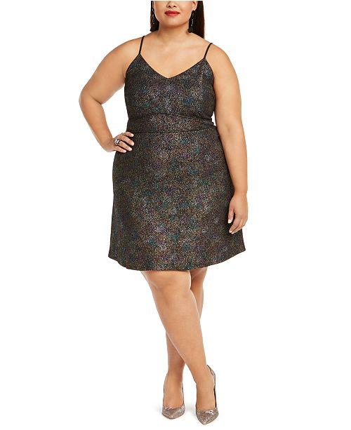 Monteau Trendy Plus Size Multicolor-Foil Skater Dress