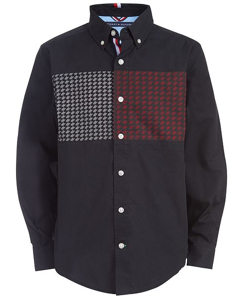 Tommy Hilfiger Big Boys Ives Pieced Geo-Print Shirt