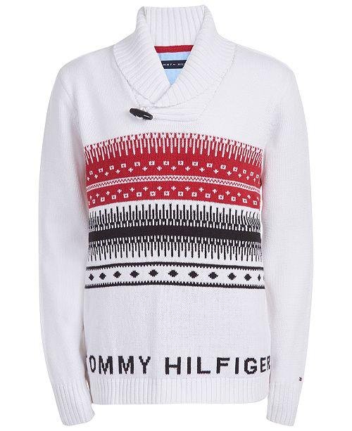 Tommy Hilfiger Big Boys Paul Fair Isle Shawl-Collar Sweater